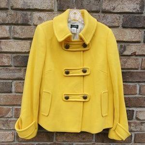 J Crew Wool Winnie Pea Coat in Bright Yellow